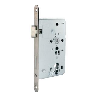 Zimmertür-Einsteckschloss PZ 24/ 65/72/8mm DIN R silber rd Kl 3