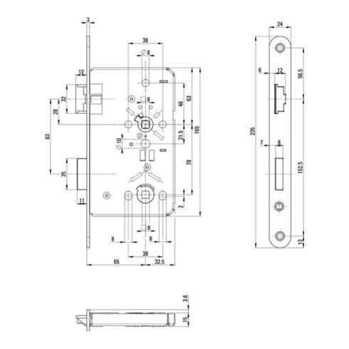 ZT-Einsteckschl.0515 BAD 24/ 65/78/8mm DIN L VA rd Kl 3 Zinkdruckgruss BKS