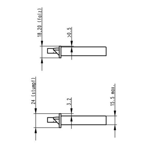 ZT-Einsteckschloss nach DIN 18251 0415 Kl. 2 PZ DIN L Dorn 55mm abgr.
